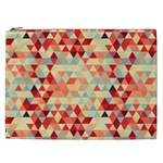 Modern Hipster Triangle Pattern Red Blue Beige Cosmetic Bag (XXL)  Front