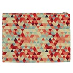 Modern Hipster Triangle Pattern Red Blue Beige Cosmetic Bag (XXL)  Back