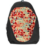 Modern Hipster Triangle Pattern Red Blue Beige Backpack Bag Front