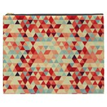Modern Hipster Triangle Pattern Red Blue Beige Cosmetic Bag (XXXL)  Front