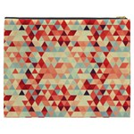 Modern Hipster Triangle Pattern Red Blue Beige Cosmetic Bag (XXXL)  Back