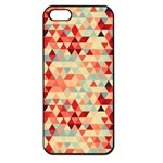 Modern Hipster Triangle Pattern Red Blue Beige Apple iPhone 5 Seamless Case (Black) Front