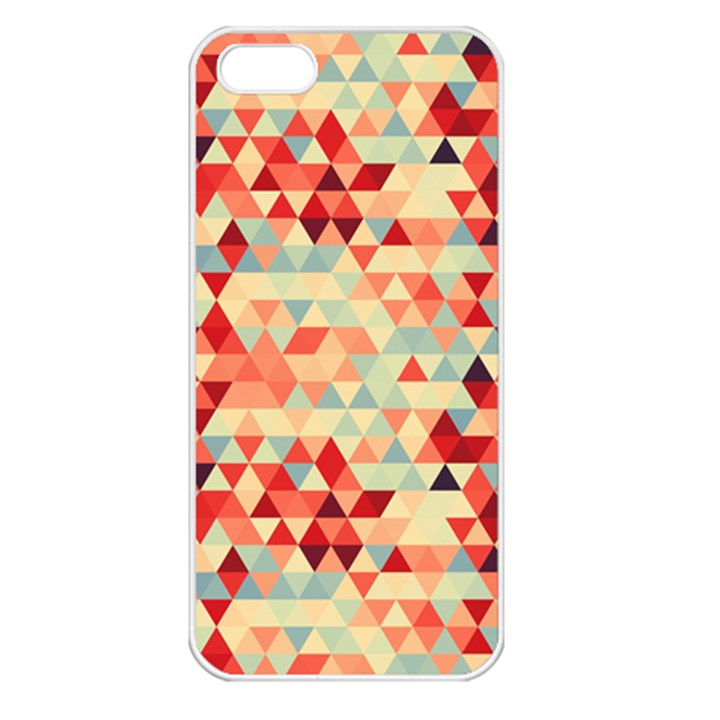 Modern Hipster Triangle Pattern Red Blue Beige Apple iPhone 5 Seamless Case (White)
