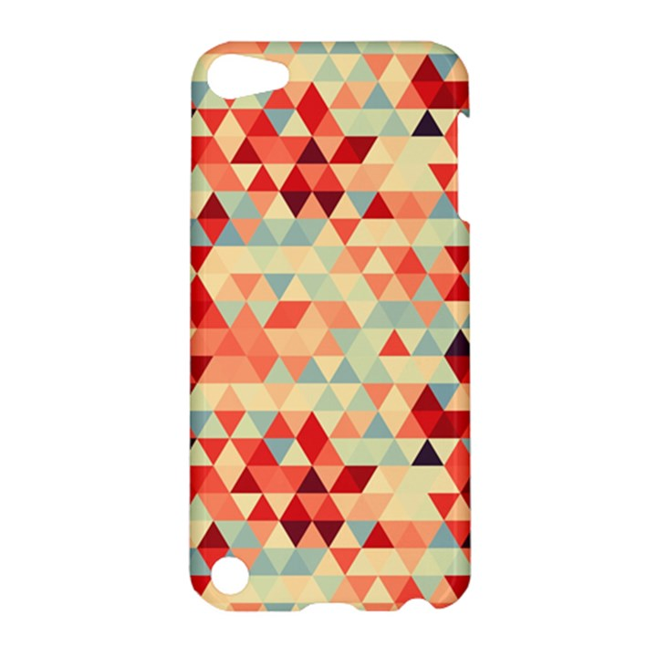 Modern Hipster Triangle Pattern Red Blue Beige Apple iPod Touch 5 Hardshell Case