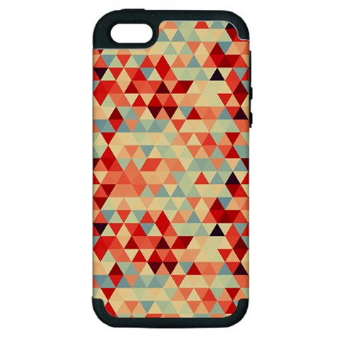 Modern Hipster Triangle Pattern Red Blue Beige Apple iPhone 5 Hardshell Case (PC+Silicone)