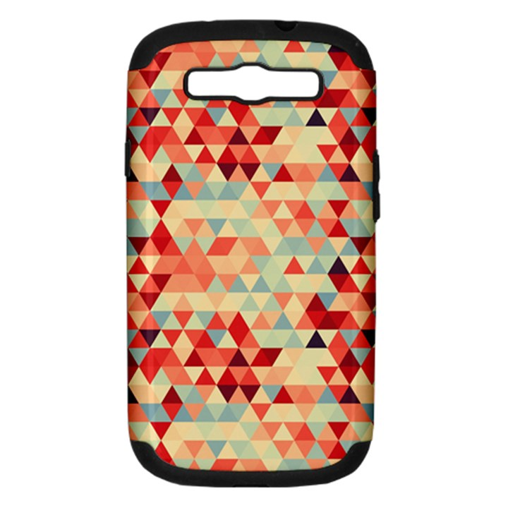 Modern Hipster Triangle Pattern Red Blue Beige Samsung Galaxy S III Hardshell Case (PC+Silicone)