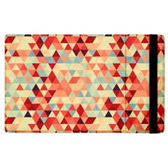 Modern Hipster Triangle Pattern Red Blue Beige Apple iPad 2 Flip Case