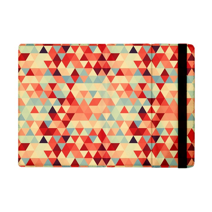 Modern Hipster Triangle Pattern Red Blue Beige Apple iPad Mini Flip Case