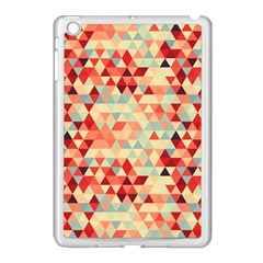Modern Hipster Triangle Pattern Red Blue Beige Apple Ipad Mini Case (white)