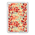 Modern Hipster Triangle Pattern Red Blue Beige Apple iPad Mini Case (White) Front