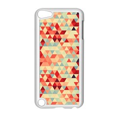 Modern Hipster Triangle Pattern Red Blue Beige Apple iPod Touch 5 Case (White)