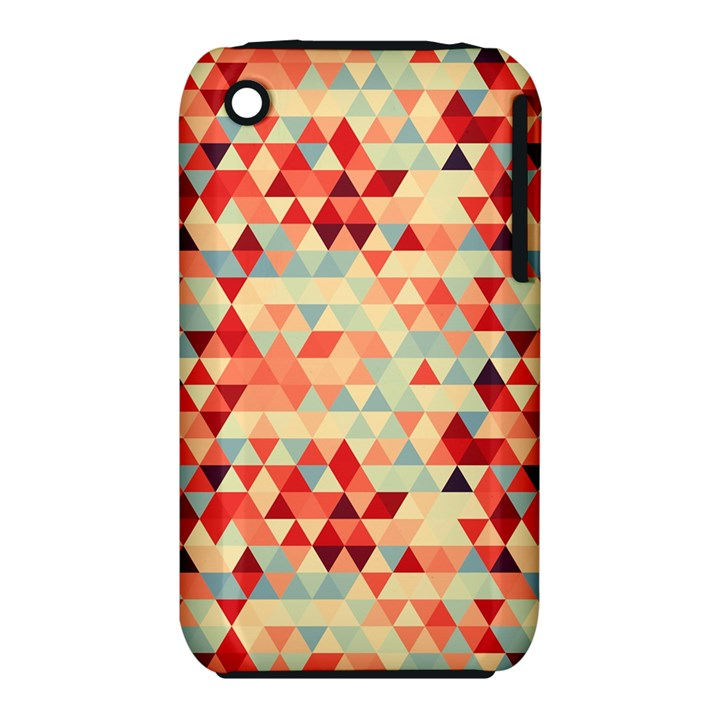 Modern Hipster Triangle Pattern Red Blue Beige Apple iPhone 3G/3GS Hardshell Case (PC+Silicone)
