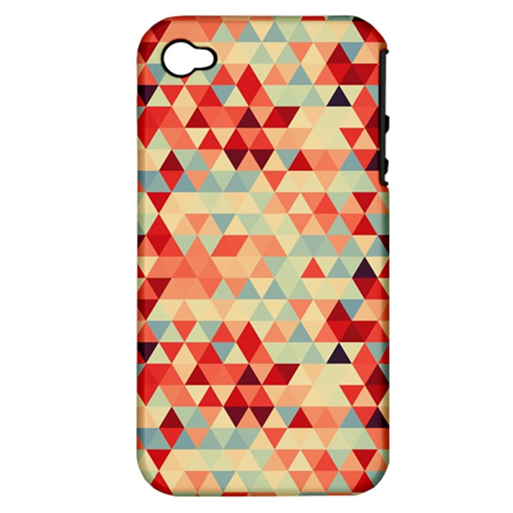 Modern Hipster Triangle Pattern Red Blue Beige Apple iPhone 4/4S Hardshell Case (PC+Silicone)