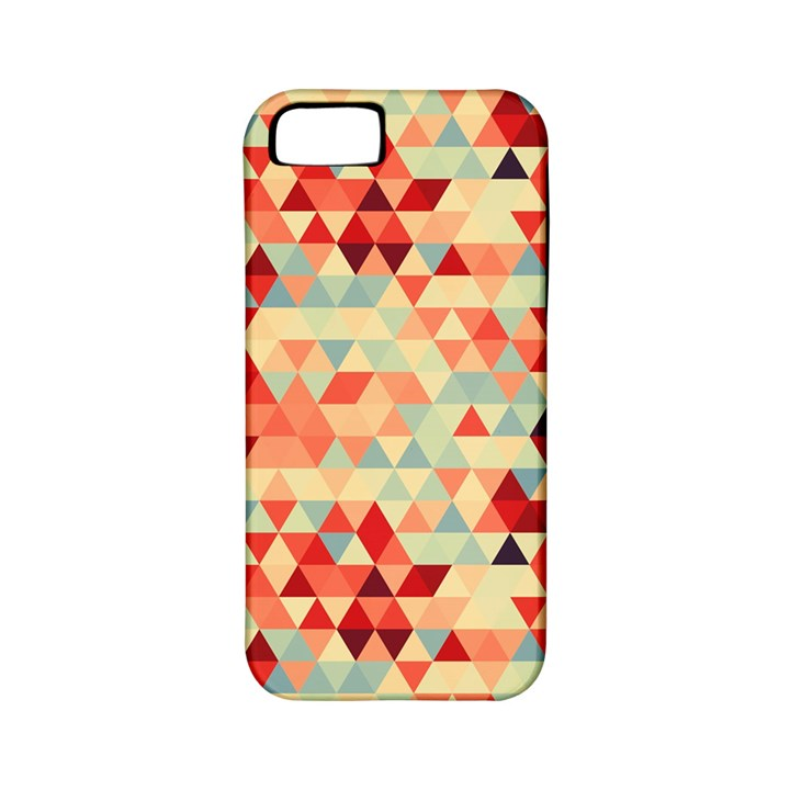 Modern Hipster Triangle Pattern Red Blue Beige Apple iPhone 5 Classic Hardshell Case (PC+Silicone)