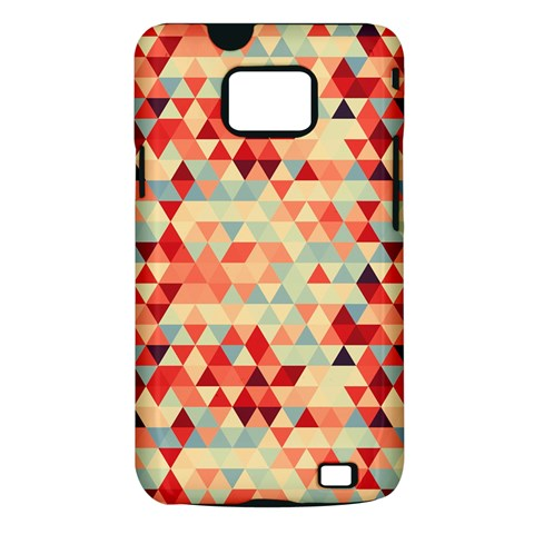 Modern Hipster Triangle Pattern Red Blue Beige Samsung Galaxy S II i9100 Hardshell Case (PC+Silicone)