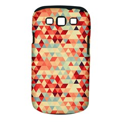 Modern Hipster Triangle Pattern Red Blue Beige Samsung Galaxy S III Classic Hardshell Case (PC+Silicone)