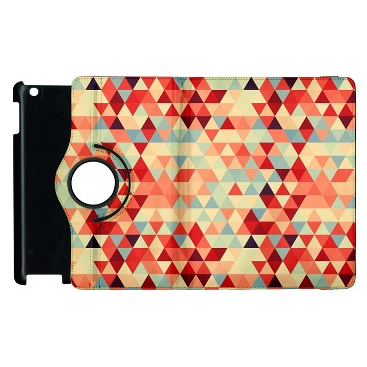 Modern Hipster Triangle Pattern Red Blue Beige Apple iPad 2 Flip 360 Case