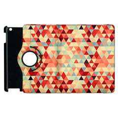 Modern Hipster Triangle Pattern Red Blue Beige Apple iPad 3/4 Flip 360 Case