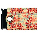 Modern Hipster Triangle Pattern Red Blue Beige Apple iPad 3/4 Flip 360 Case Front