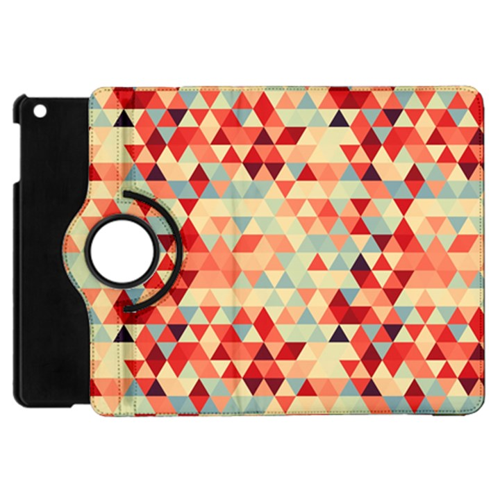 Modern Hipster Triangle Pattern Red Blue Beige Apple iPad Mini Flip 360 Case