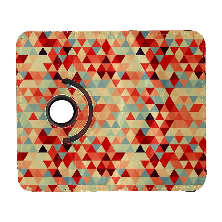 Modern Hipster Triangle Pattern Red Blue Beige Samsung Galaxy S  III Flip 360 Case