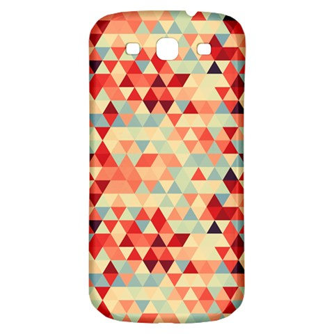 Modern Hipster Triangle Pattern Red Blue Beige Samsung Galaxy S3 S III Classic Hardshell Back Case