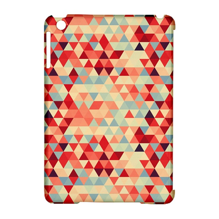 Modern Hipster Triangle Pattern Red Blue Beige Apple iPad Mini Hardshell Case (Compatible with Smart Cover)