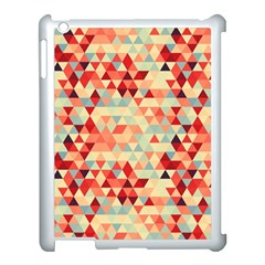 Modern Hipster Triangle Pattern Red Blue Beige Apple iPad 3/4 Case (White)
