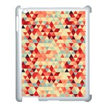 Modern Hipster Triangle Pattern Red Blue Beige Apple iPad 3/4 Case (White) Front