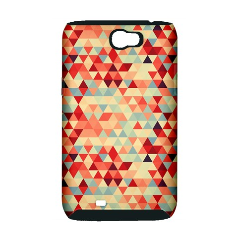 Modern Hipster Triangle Pattern Red Blue Beige Samsung Galaxy Note 2 Hardshell Case (PC+Silicone)