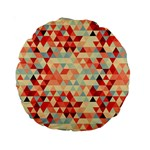 Modern Hipster Triangle Pattern Red Blue Beige Standard 15  Premium Round Cushions Back