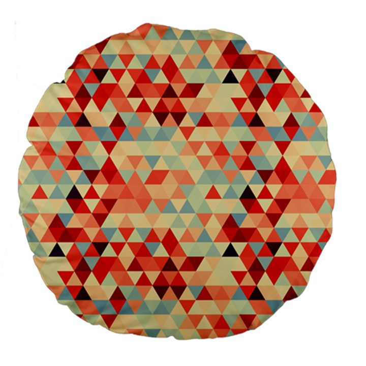 Modern Hipster Triangle Pattern Red Blue Beige Large 18  Premium Round Cushions