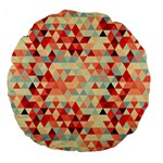 Modern Hipster Triangle Pattern Red Blue Beige Large 18  Premium Round Cushions Back