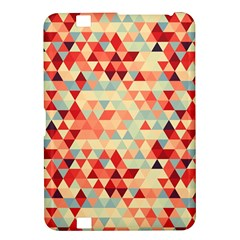Modern Hipster Triangle Pattern Red Blue Beige Kindle Fire Hd 8 9