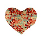 Modern Hipster Triangle Pattern Red Blue Beige Standard 16  Premium Heart Shape Cushions Front