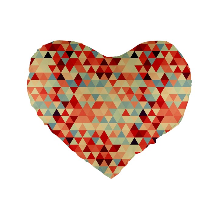 Modern Hipster Triangle Pattern Red Blue Beige Standard 16  Premium Heart Shape Cushions