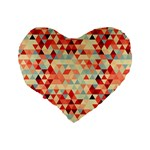 Modern Hipster Triangle Pattern Red Blue Beige Standard 16  Premium Heart Shape Cushions Back