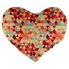 Modern Hipster Triangle Pattern Red Blue Beige Large 19  Premium Heart Shape Cushions