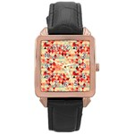 Modern Hipster Triangle Pattern Red Blue Beige Rose Gold Leather Watch  Front
