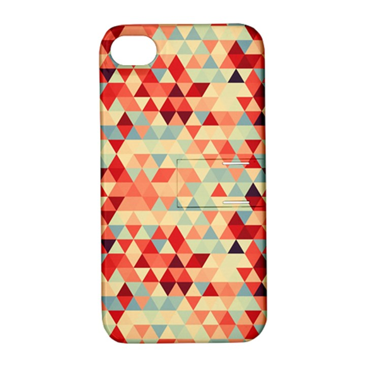 Modern Hipster Triangle Pattern Red Blue Beige Apple iPhone 4/4S Hardshell Case with Stand