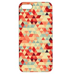 Modern Hipster Triangle Pattern Red Blue Beige Apple iPhone 5 Hardshell Case with Stand