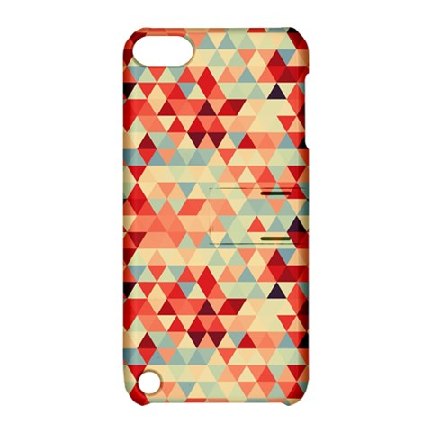 Modern Hipster Triangle Pattern Red Blue Beige Apple iPod Touch 5 Hardshell Case with Stand