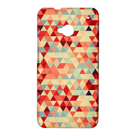 Modern Hipster Triangle Pattern Red Blue Beige HTC One M7 Hardshell Case