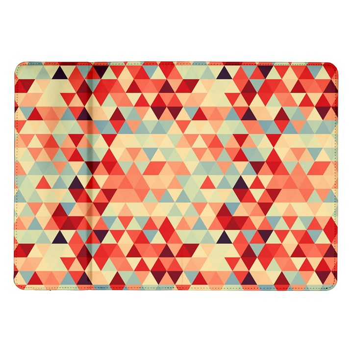 Modern Hipster Triangle Pattern Red Blue Beige Samsung Galaxy Tab 10.1  P7500 Flip Case