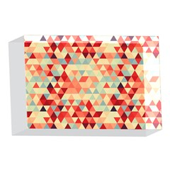Modern Hipster Triangle Pattern Red Blue Beige 4 x 6  Acrylic Photo Blocks