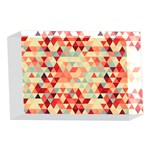 Modern Hipster Triangle Pattern Red Blue Beige 4 x 6  Acrylic Photo Blocks Front