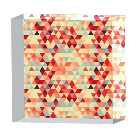 Modern Hipster Triangle Pattern Red Blue Beige 5  x 5  Acrylic Photo Blocks