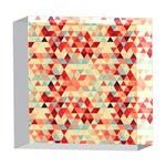 Modern Hipster Triangle Pattern Red Blue Beige 5  x 5  Acrylic Photo Blocks Front