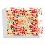 Modern Hipster Triangle Pattern Red Blue Beige 5 x 7  Acrylic Photo Blocks Front