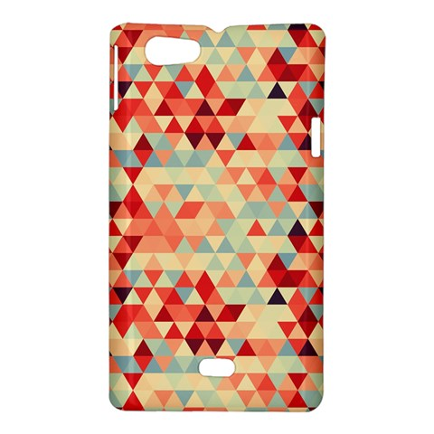 Modern Hipster Triangle Pattern Red Blue Beige Sony Xperia Miro